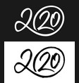 new year 2020 calligraphic numbers set vector image vector image