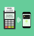 payment from phone on pos terminal pay card vector image vector image