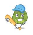 playing baseball artichoke character cartoon style vector image