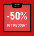 sale 50 percent off get discount website button vector image vector image