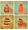 set retro cards with cake vector image vector image