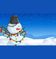 snowman with christmas lights scene vector image vector image