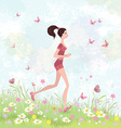 Sporty brunette jogging in the park vector image vector image