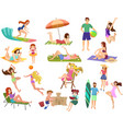 summer beach cartoon anime people outdoor vector image vector image