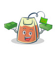 tea bag character cartoon with money vector image vector image