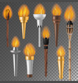 torch flame flaming torchlight or lighting vector image