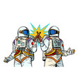two astronauts drink beer male friendship vector image vector image