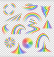 various rainbow bands curves turns circles vector image