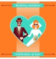 Wedding invitation card template in retro style vector image