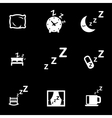 white sleep icon set vector image vector image