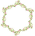wreath of green leaves with red berries vector image vector image