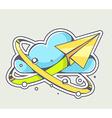 yellow paper plane flying around blue clo vector image