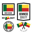 benin quality label set for goods vector image