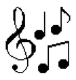 pixel music notes vector image