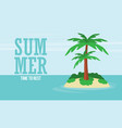 a tropical sea island with palm trees and sun vector image vector image