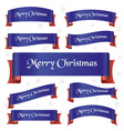 blue and red merry christmas curved ribbon banners vector image vector image