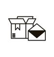 carton box with envelope delivery service vector image
