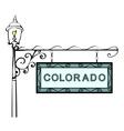 Colorado retro pointer lamppost vector image vector image