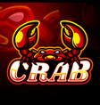 crab esport logo mascot design vector image vector image