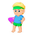 cute boy holding swimming board vector image