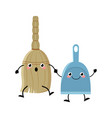 cute cartoon broom and dustpan characters vector image