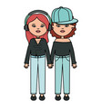 cute girls with earphones and sport cap urban vector image vector image