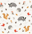 cute little woodland animals and birds pattern vector image vector image