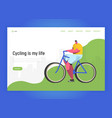 cycling landing page template riding bicycle vector image vector image