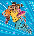 dad superhero flies and carries his daughter and vector image
