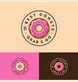 donuts logo bakery cafe emblem pink icing vector image