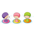 doodle kids playing in water vector image vector image
