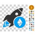 ethereum rocket icon with bonus vector image vector image