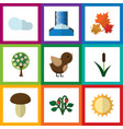 flat icon ecology set of tree canadian vector image