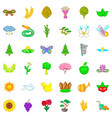 flower icons set cartoon style vector image vector image