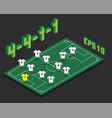 football 4-4-1-1 formation with isometric field vector image