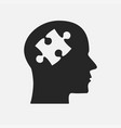 grey puzzle piece silhouette head jigsaw vector image
