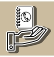 hand and telephone isolated icon design vector image vector image