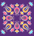 hand drawn mandala with paisley on violet vector image vector image