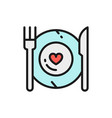 healthy food plate with fork and knife vector image