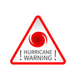 hurricane warning road sign vector image vector image