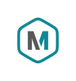 initial m hexagon logo vector image vector image