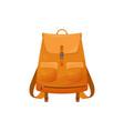 kids schoolbag isolated icon orange rucksack vector image vector image