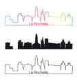 la rochelle skyline linear style with rainbow vector image vector image