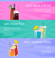lets drink summer party fun vector image