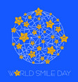 line greeting card world smile day vector image vector image