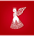 merry christmas card with angel ornamental wings vector image