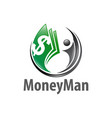 money man circle money with human character logo vector image vector image