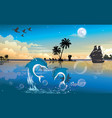 moonlit night at the beach vector image