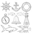 nautical symbols hand drawn sketch vector image vector image