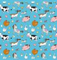 pattern with farm animals cute cartoon horse cow